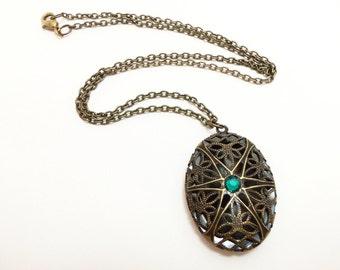 Victorian Locket Antiqued Brass Necklace Filigree Locket Brass Victorian Style Jewelry