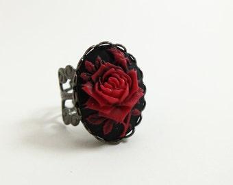 Red Rose Cocktail Ring Black Red Rose Adjustable Ring