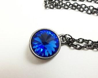 Dark Blue Crystal Necklace Sapphire Blue September Birthstone Gunmetal Blue Necklace Rivoli