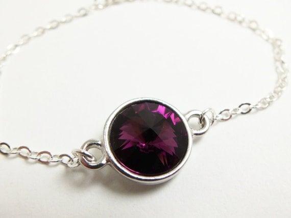 Purple Chain Bracelet Sterling Silver Crystal Jewelry Rivoli Amethyst Chain Bracelet