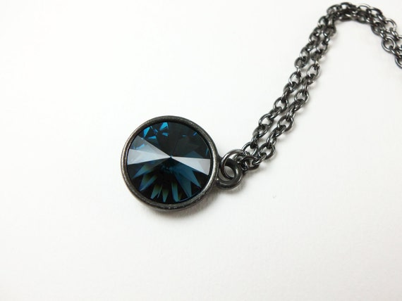 Sapphire Necklace September Birthstone Dark Necklace Dark Jewelry Sapphire Crystal Necklace Dark Silver Rivoli