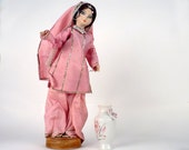 Vintage Doll from India / Collectible doll / Pink sari costume / Souvenir from India / Handmade 1960 - 4 x 14