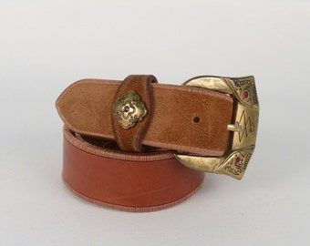 Vintage Leather Belt - Gorgeous Linea Pelle Belt - Brass Large Buckle and Loop, Orange Brown Smooth Italian Leather - Medium - Made in Italy