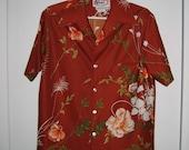 70's Wide Lapel Men's SHIRT.  Groovy Rust Hawaiian print.    Disco funky Hawaiian.