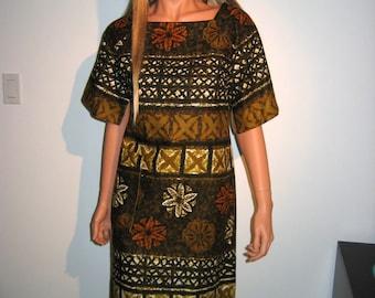60's Hawaiian Day Dress.  Vintage beach dress.    Mint, NEVER WORN.  XS.  Tapa Hawaiian Print.