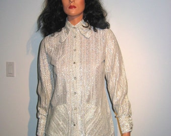Vintage HOT, 60's Silver Lurex Blouse or tunic.  Rhinestone buttons. Rockabilly, Mod Rocker, Hippie. Size 30.