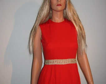 Groovy 70's Red Hot lounge Dress.  Vintage  Hippie.  Red. H/B jrs. of California, New old stock.  Size 9.