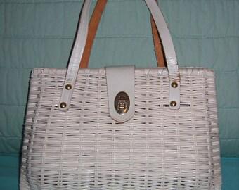 50's 60's Rattan purse Gorgeous Authentic VINTAGE.  White