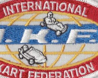 Vintage I K F Patch. 4 3/4 inch. IKF Embroidered Cloth Original. International Kart Federation.