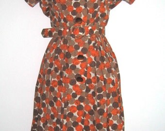 50's 60's Rockabilly Day to Evening Dress, Big Buttons, Belted, Lucy, swing, dance