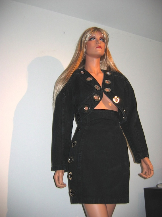 Hold for jeanie crystal.  SMOKIN HOT 80's high waisted mini matching crop bolero jacket.  Never worn.  XS S.  Riveting.  Indigo.