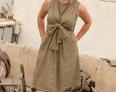 Bow tie Wrap Dress ,Linen, Convertible, Knee length, Khaki