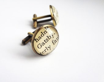 Great Gatsby Cufflinks, Bronze Cufflinks, Gatsby and Daisy, Book Cufflinks, American Classics, Literary Gift, Book Lover Gift Idea
