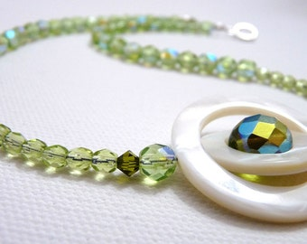 Peridot Sparkle Necklace, Mother of Pearl Spinner