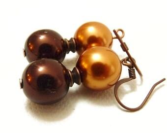 Copper Chocolate and Orange Simple Pearl Earrings- brown & orange