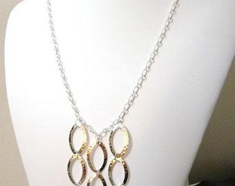 Geometric Silver Oval Statement Necklace - Adjustable Length - free shipping