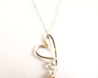 Pink Sterling Silver Heart Drop Necklace with pink pearl