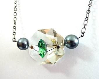 Sparkling Green Crystal Necklace w/ gray pearls on gunmetal - upcycled chandelier crystal