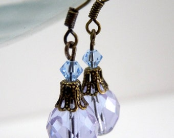 A Touch of Periwinkle Brass Earrings - blue purple