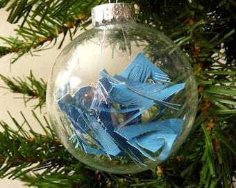 Blue Cut Paper Modern Ornament - medium - glass