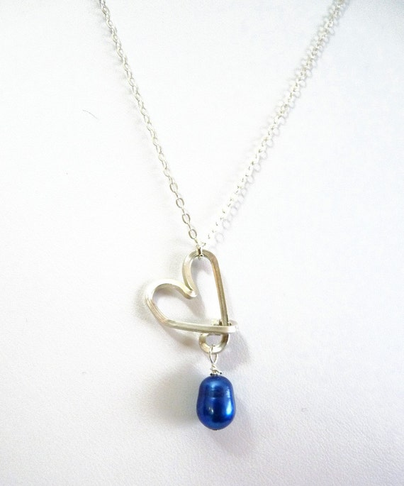Sterling Silver Heart Drop Necklace - with bright Blue pearl