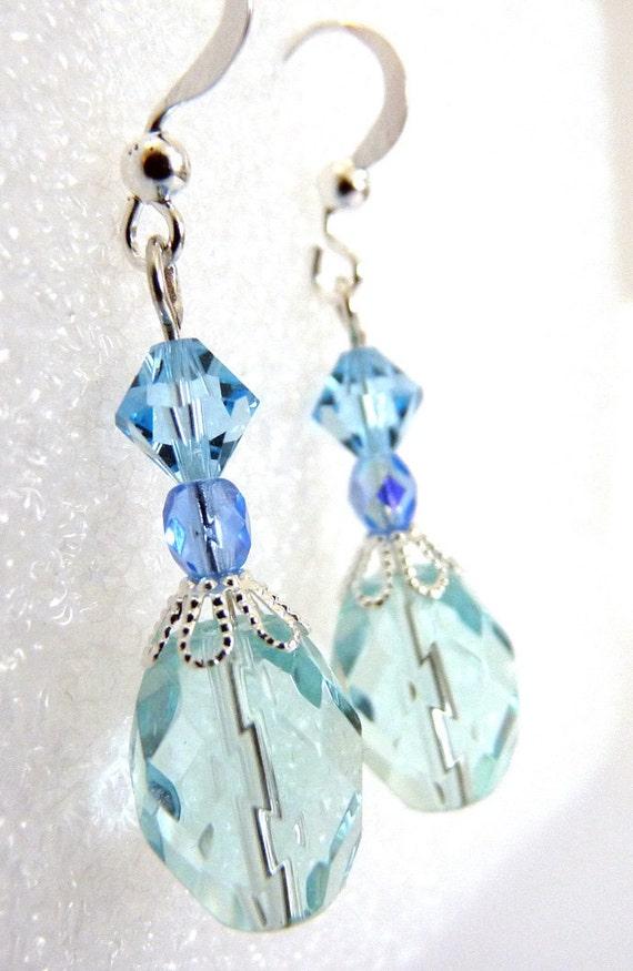 Ice Aqua Blue Sparkling Earrings