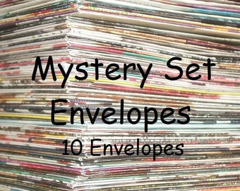 10 pack of upcycled mystery envelopes for pen pals, snail mail letter writers, and stationery addicts