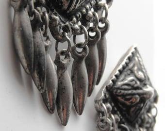 Vintage Silver Indian dangles pierced earrings