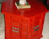 Accent Table J A Z Z Y Poppy Red Vintage Poppy Cottage Painted Furniture