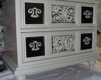 Nightstand Hollywood Regency CUSTOMIZE Poppy Cottage Vintage Painted Furniture