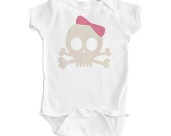 Baby Girl Pink Pirate Princess Design on White ORGANIC Bodysuit