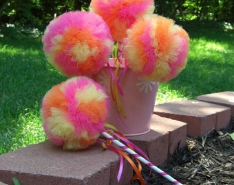 Tropical Punch Poof Wand- Hot PInk Wand, Orange Wand, Yellow Wand- Birthday party favor- Tulle wand