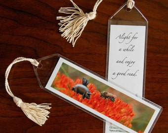 Pigasus Meets Bee Mini Art Bookmark with Tassel - Small, Flying Pig Bookmark, Illustrated Bookmark, When Pigs Fly Photographic Art Bookmark