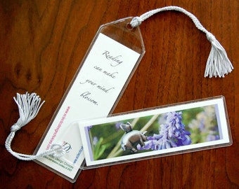 Flying Pig Bookmark, Pigasus Pollinates Sage Mini Art Bookmark with Tassel - Small, Altered Photo Bookmark