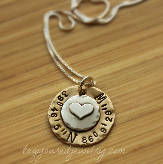Sterling silver and brass hand stamped navigation coordinates gps latitude longitude necklace with special location