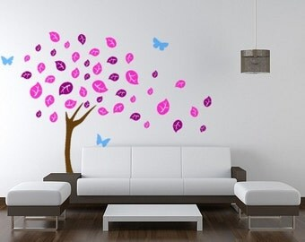 Tree wall decal, nursery wall tree decal, butterfly sticker, big tree with butterflies, baby room decor, dorm room decor,  50 x 75 inches