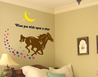 Horse decal, quote wall sticker, wall words, pony decal, mustang wall decal, star decal, moon decal, girls bedroom decor, 40 X 41 inches