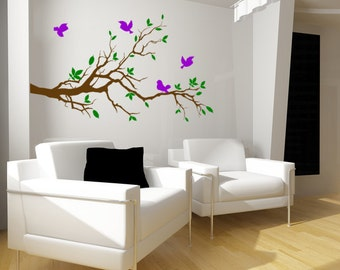 Tree wall decal, tree branch with birds sticker, nursery wall decal, flying birds decal, nature decal, den decor, 28 X 48 inches,2035-N