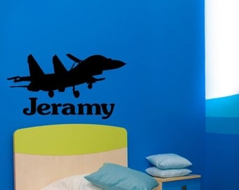 Jet fighter decal-Jet fighter sticker-Military decal-Personalized decal-Kids room wall decor-36 X 20 inches