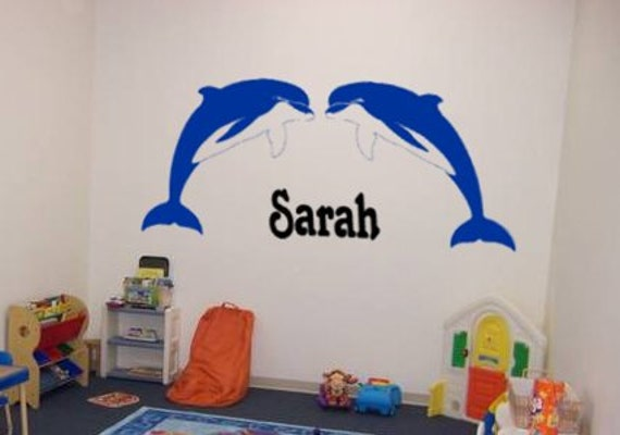 Nursery wall decal, childs name sticker, girls room personalized decal, dolphin decal, wall words, baby room sticker, Big 46 X 28 inches