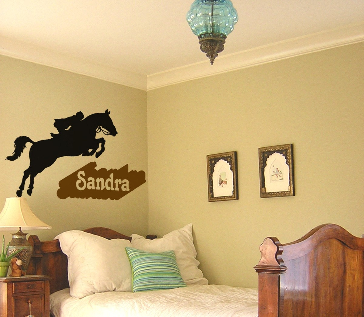 Horse decal girls name wall sticker teen bedroom horse for Horse bedroom decor