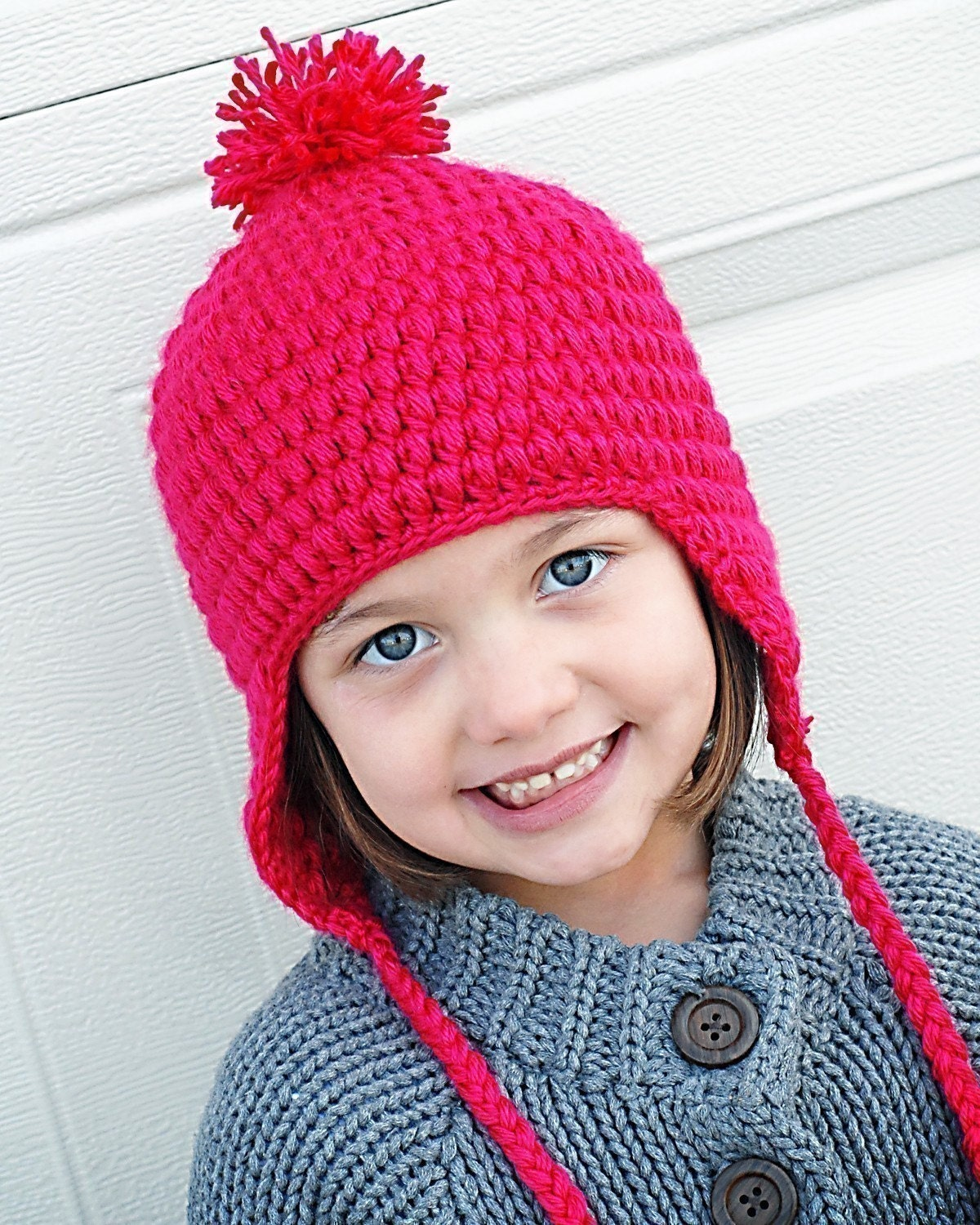 Free Crochet Pattern Toddler Earflap Hat : Puffy Earflap Hat Crochet Pattern Instant by adrienneengar ...