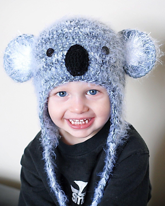 Koala Hat Knitting Pattern Free : Koala Earflap Hat Crochet Pattern Instant by adrienneengar ...