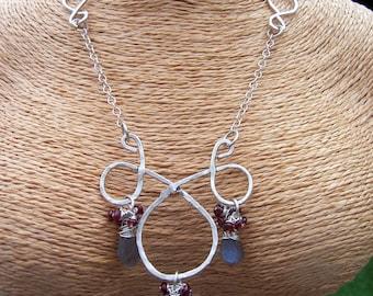 Labradorite and garnet sterling silver statement necklace, labradorite jewelry, garnet jewelry, mothers day gift, genuine gemstone