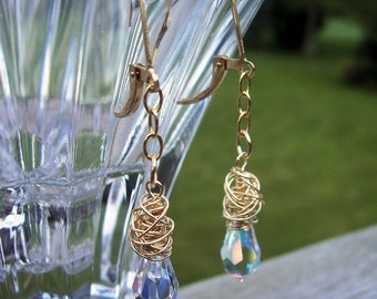 Swarovski Crystal and gold wire wrapped earrings bridal jewelry wedding jewelry, gift for her, mothers day gift