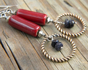 Sapphire Dark Red Brass Sterling Silver Earrings Twisted Ring Ceramic Tube Mixed Metals Artisan Jewelry