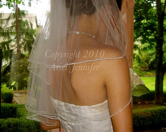 Two Tier Wedding Veil, Beaded Veil - Elbow Length