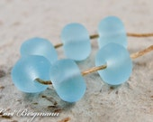 Pale Aqua Lampwork Beads, Faux Beach Glass, Etched Nuggets, Frosted, Handmade SRA