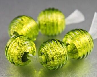 Handmade Lampwork Beads, Metallic Ribbed Texture, Peridot, Chartreuse Green