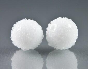 Snowball Lampwork Glass Beads, Earring Pair, White Sugar, Handmade SRA